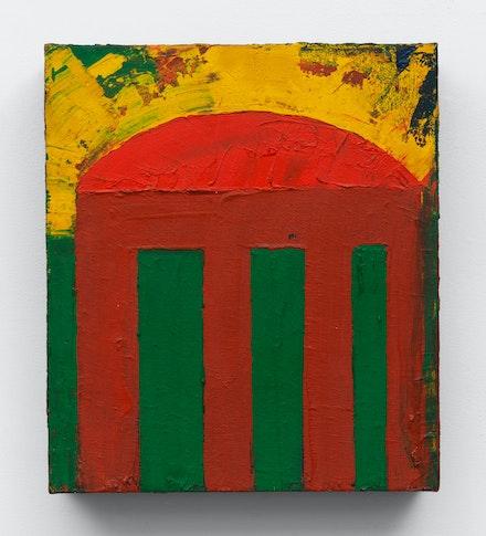 Chris Martin, <em>Temple</em>, 1985. Oil on canvas, 16 x 14 inches. Courtesy Anton Kern Gallery, New York.