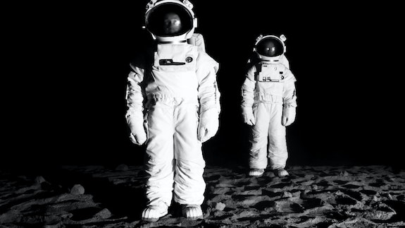 John Wood and Paul Harrison, <em>Bored Astronauts on the Moon</em>, 2011. Single-channel HD video, 20 minutes. Courtesy Cristin Tierney, New York.