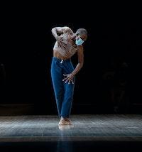 Nayaa Opong in <em>Afterwardsness</em> at Park Avenue Armory's Drill Hall, 2021. Photo: Stephanie Berger Photography/Park Avenue Armory.