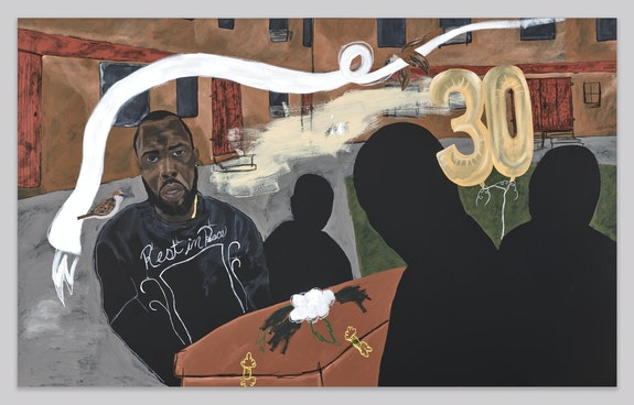 Jammie Holmes, <em>Carrying Caskets #3</em>, 2021. Acrylic and oil pastel on canvas, 79 3/4 x 130 inches. Courtesy Library Street Collective, Detroit.