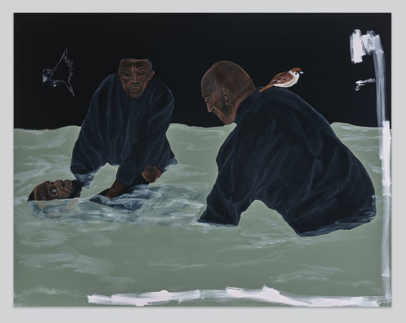 Jammie Holmes, <em>Blame The Man</em>, 2021. Acrylic and oil pastels on canvas 70 1/8 x 90 inches. Courtesy Library Street Collective, Detroit.