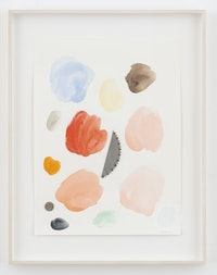 Monika Baer, <em>Loose change</em>, 2021. Watercolor, saw blade fragment, screws and coin on paper, 20 x 15 inches. Courtesy the artist; Galerie Barbara Weiss, Berlin; and Greene Naftali, New York.
