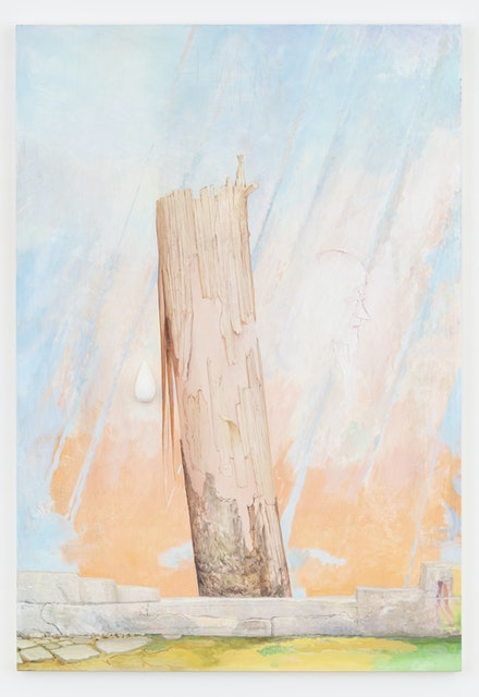 Monika Baer, <em>Yet to be titled</em>, 2020. Oil, acrylic, crayon and rigid foam on canvas, 90 x 62 inches. Courtesy the artist; Galerie Barbara Weiss, Berlin; and Greene Naftali, New York.