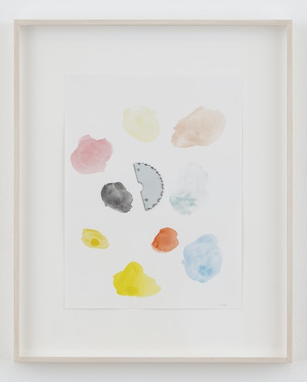 Monika Baer, <em>Loose change 2</em>, 2021. Watercolor, chrome-plated saw blade fragment and screws on paper, 15 3/4 x 11 3/4 inches. Courtesy the artist; Galerie Barbara Weiss, Berlin; and Greene Naftali, New York.