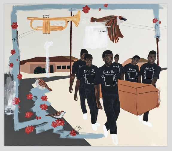 Jammie Holmes, <em>Carrying Caskets #1</em>, 2021. Acrylic and oil pastels on canvas, 79 1/8 x 90 1/4 inches. Courtesy Library Street Collective, Detroit.