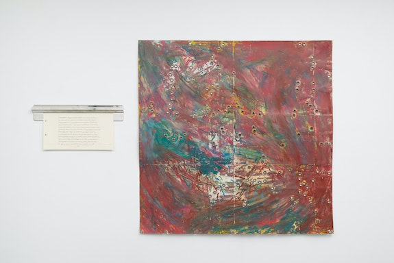 Kemar Keanu Wynter, <em>Corned Beef Sandwich</em>, 2021. Oil stick, oil pastel, acrylic, charcoal, and grommets on French cardstock / toner and graphite on Strathmore cardstock, stainless steel ticket holder, 38 3/4 x 38 3/4 inches / 9 x 18 1/4 inches. Courtesy Tiger Strikes Asteroid, New York. Photo: Daniel Johnson.