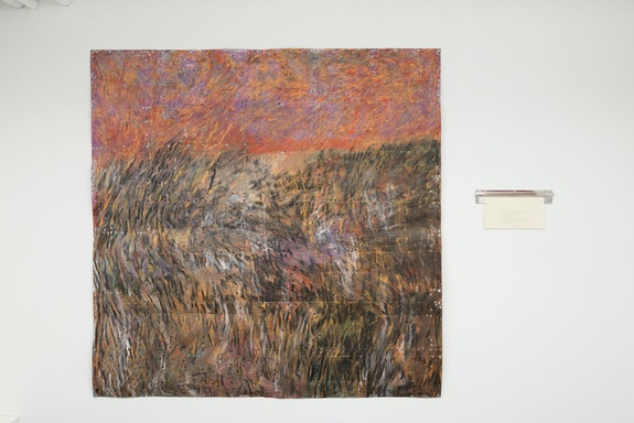 Kemar Keanu Wynter, <em>Macaroni Pie</em>, 2021. Oil stick, oil pastel, acrylic, charcoal, and grommets on French cardstock / toner and graphite on Strathmore cardstock, stainless steel tickert holder, 81 x 81 inches / 9 x 18 1/4 inches. Courtesy Tiger Strikes Asteroid, New York. Photo: Daniel Johnson.
