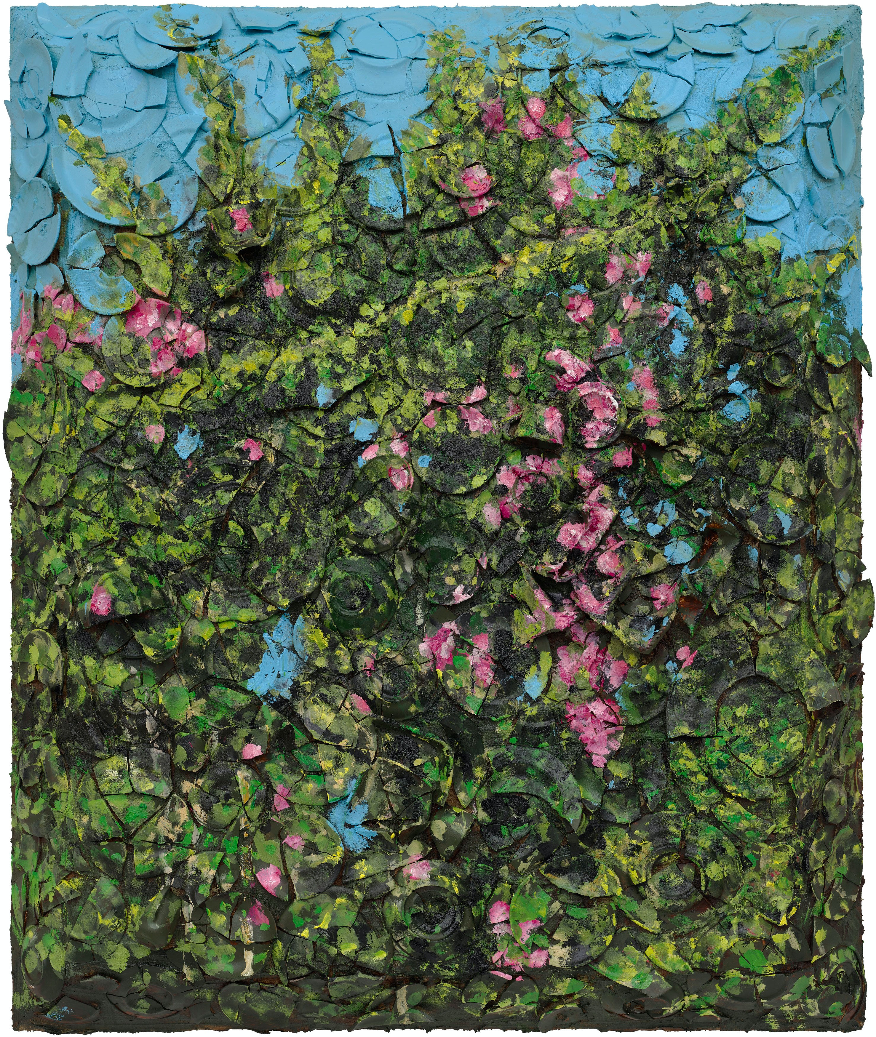 Julian Schnabel, <em>Victory at S-chanf I</em>, 2021. Oil, plates and bondo on wood, 72 x 60 inches. © Julian Schnabel. Courtesy the artist and Vito Schnabel Gallery. Photo: Tom Powel Imaging.