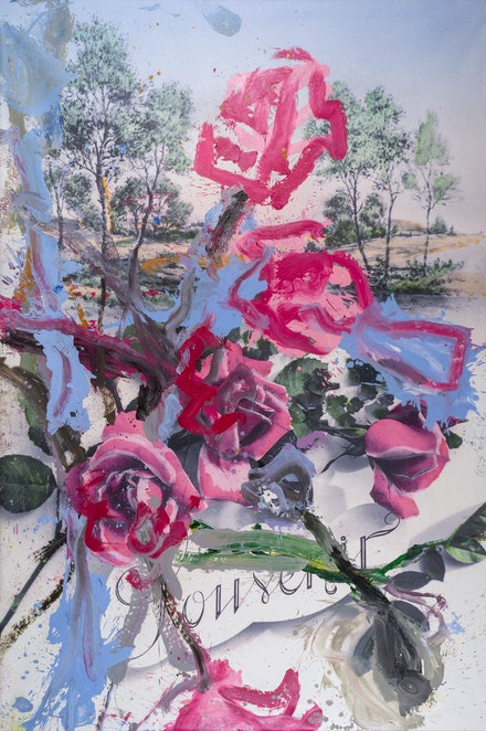 Jorge Galindo, <em>Souvenir (Good Year For The Roses) I</em>, 2021. Oil on printed canvas, 118 1/8 x 78 3/4 inches. © Jorge Galindo. Courtesy the artist and Vito Schnabel Gallery.