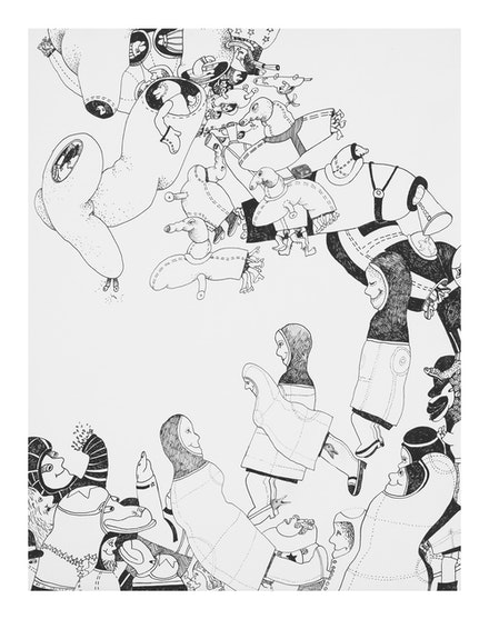 Gladys Nilsson, <em>Space Drawing #8</em>, 1967. Ink on paper collage, 14 x 11 inches. Courtesy Garth Greenan Gallery, New York.