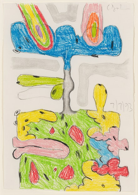 Carroll Dunham, <em>Untitled (7/7/93)</em>, 1993. Wax crayon and pencil on paper, 11.5 x 8 inches. Courtesy Corbett vs. Demspey, Chicago.