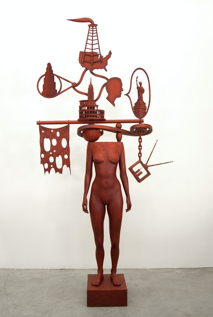 John Buck, <em>Talk of the Town (The)</em>, 2005. Jelutong wood and acrylic, 113 x 60 x 12 inches. © John Buck. Courtesy Jack Shainman Gallery, New York.