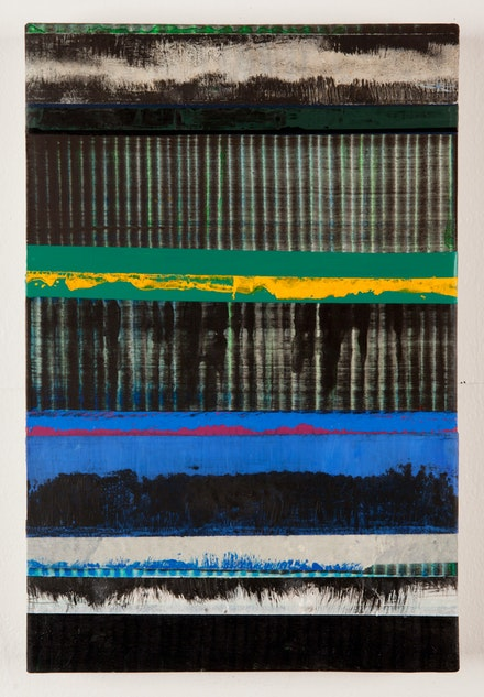 Juan Uslé, <em>Los azules perdidos</em>, 2019. Vinyl dispersion and dry pigment on canvas 18 x 12 1/4 inches. © Juan Uslé. Courtesy Galerie Lelong & Co.