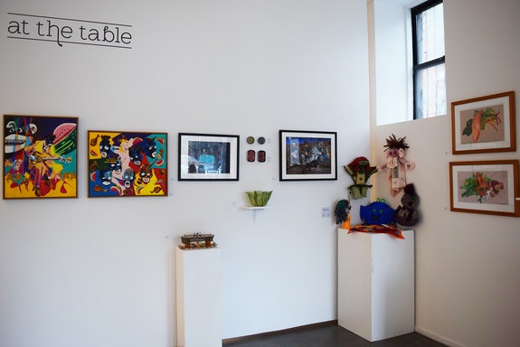 Installation shot of the exhibition <em>At the Table</em>. Courtesy Fountain House Gallery.