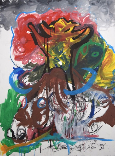 Sasha P.W., <em>Atomic Jest</em>, 2019. Acrylic and charcoal on canvas. 36 x 24 in. Images courtesy Fountain House Gallery.