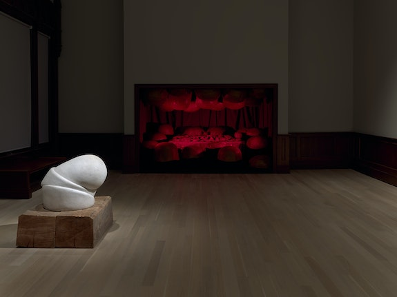 Installation view: <em>Louise Bourgeois: Freud's Daughter</em>, The Jewish Museum, New York, 2021. © The Easton Foundation/Licensed by VAGA at Artists Rights Society (ARS), NY. In this photo: Passage Dangereux (1997). Courtesy Hauser & Wirth. Photo: Ron Amstutz.