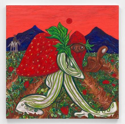 Daniel Gibson, <em>Strawberry fields</em> , 2021. Oil on canvas, 72 x 72 inches. Courtesy Almine Rech. Photo: Matt Kroening.