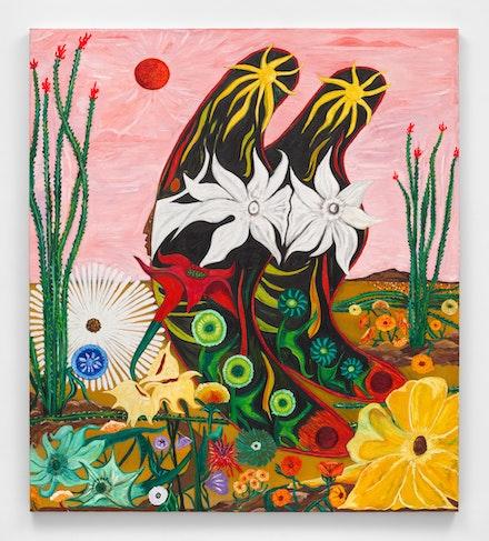 Daniel Gibson, <em>Butterfly #11 Ocotillo Song</em>, 2021. Oil on linen, 73 x 64 inches. Courtesy Almine Rech. Photo: Dan Bradica.