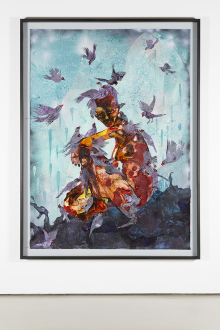 Wangechi Mutu, <em>Ox Pecked</em>, 2018. Ink, watercolor, and collage on mylar, 82 3/5 x 57 2/5 inches. Courtesy the artist and Victoria Miro. Image courtesy the Fine Arts Museums of San Francisco.