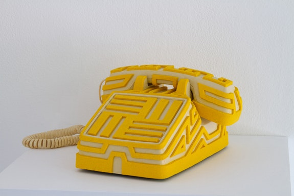 Saul Chenrick, untitled, 2020. Homemade sculpting compound, telephone, 5 1/2 x: 9 1/2 x 9 1/4 inches. Courtesy Soloway.