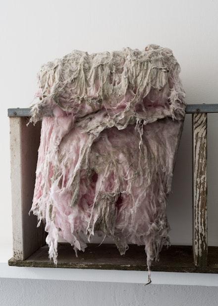 Ser Serpas, <em>Moments are hard</em>, 2019. Shelf, isolation foam. Courtesy the artist. Photo: Carter Seddon.