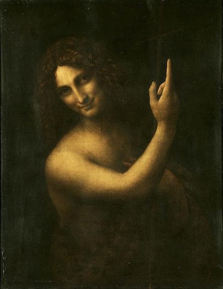 Fig. 1: Leonardo da Vinci, <em>St. John the Baptist</em>, c. 1513-1516. Oil on panel. Louvre, Paris.