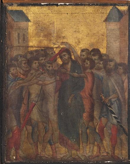 Fig. 2: Cimabue, <em>Mocking of Christ</em>, c. 1280. Tempera and gold leaf on panel. Art Market, Paris.