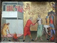 Bernardo Daddi, <em>St. Reparata Tortured with Red-hot Irons</em>, c. 1340, tempera on panel. Metropolitan Museum of Art, New York.