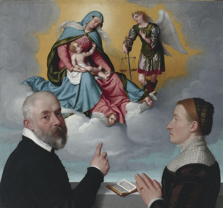 Giovanni Battista Moroni, <em>Two Donors before the Virgin and Child and St. Michael</em>, ca. 1557-60. Oil on canvas. Virginia Museum of Fine Arts.