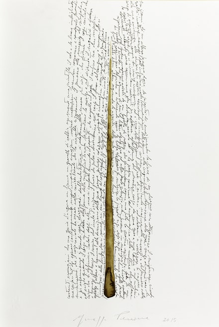 Giuseppe Penone, <em>Pensieri e linfa (Thoughts and Sap)</em>, 2015, India ink and watercolor on paper, 18  7/8  x 13 in. Photo © Archivio Penone. Courtesy Marian Goodman Gallery.