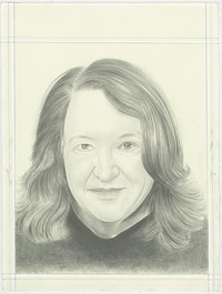 Portrait of Lynn Hershman Leeson, pencil on paper by Phong H. Bui.