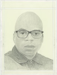 Portrait of Dave McKenzie, pencil on paper by Phong H. Bui.