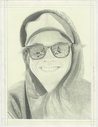 Portrait of Lucy Raven, pencil on paper by Phong H. Bui.