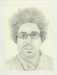 Portrait of John Sims, pencil on paper by Phong H. Bui.
