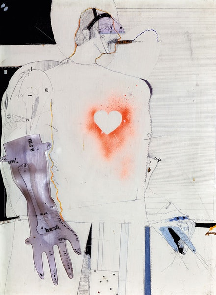 Lynn Hershman Leeson,<em> X-Ray Man</em>, 1970. Acrylic, pencil, Letraset, and Plexiglas on wood, 41 ½ x 29 ½ in (105.5 x 75 cm). Private Collection, The Netherlands, Courtesy Paul Van Esch & Partners, Amsterdam. Courtesy the artist; Bridget Donahue Gallery, New York; and Altman Siegel, San Francisco. Photo © ZKM | Center for Art and Media, photo: Tobias Wootton