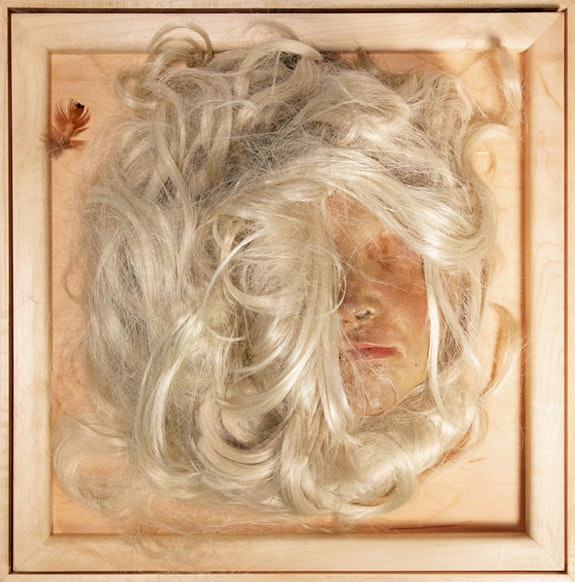 Lynn Hershman Leeson, <em>Self Portrait as Blonde</em>, 1968. Wax, wig, feathers, Plexiglas, wood, sensor, and sound. Courtesy the artist; Bridget Donahue Gallery, New York; and Altman Siegel, San Francisco