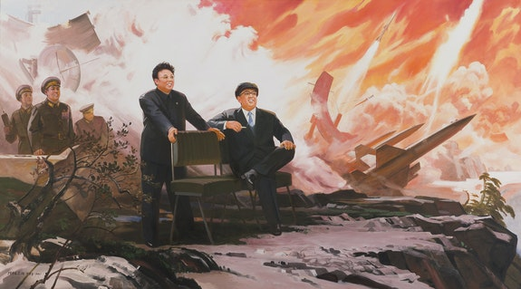 Pak Yong Chol, <em>The Missiles</em>, 1994–2004. Oil on canvas, 59 7/8 x 107 1/10 inches. © Pak Yong Chol. Photo: Sigg Collection, Mauensee.