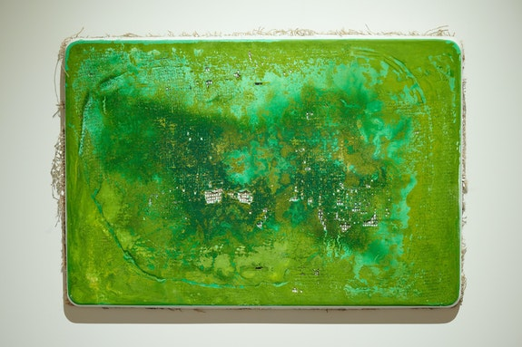 William Eric Brown, <em>ColorStatic G1</em>, 2021. Watercolor, plaster, burlap and metal, 17 x 25 x 1 1/4 inches. Courtesy The National Arts Club/Caleb Miller.