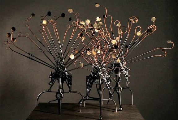 Vladimir Martirosov, <em>Jelly-fish</em>, 2017. Copper, brass, electric motor, stainless steel, dimensions vary. Courtesy Triumph Gallery.