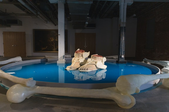 Onyedika Chuke, <em>Forever Museum Archive/The Untitled/Hermes_and_Reflection Pool_Blue_Circa_2020</em>, 2021. Courtesy the artist, The Arts Center at Governors Island and Pioneer Works. Photo: David Gonsier.