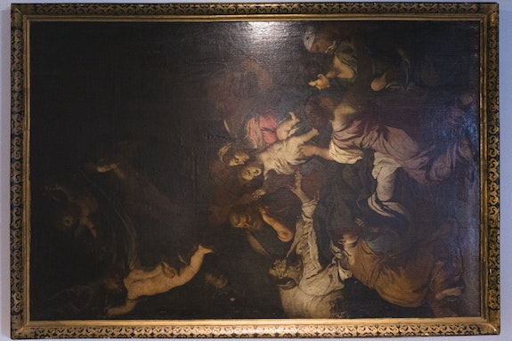 Onyedika Chuke, <em>Forever Museum Archive/The Untitled/Death of Saint Anne_Fabrizio Chiari</em>, circa 1615-95. Courtesy the artist, The Arts Center at Governors Island and Pioneer Works. Photo: David Gonsier.