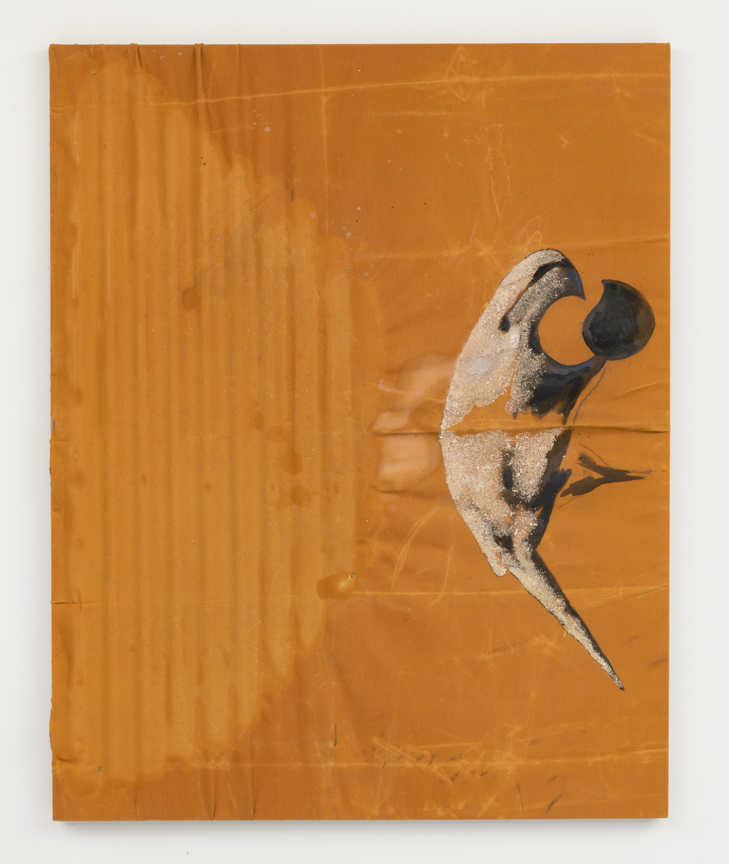 Rosy Keyser, <em>Metabolic Berd</em>, 2021. Oil, medium, sawdust and pastel on waxed canvas and molded paper. 58 x 46 inches. Courtesy Ceysson & Bénétière. Photo: ©Adam Reich.
