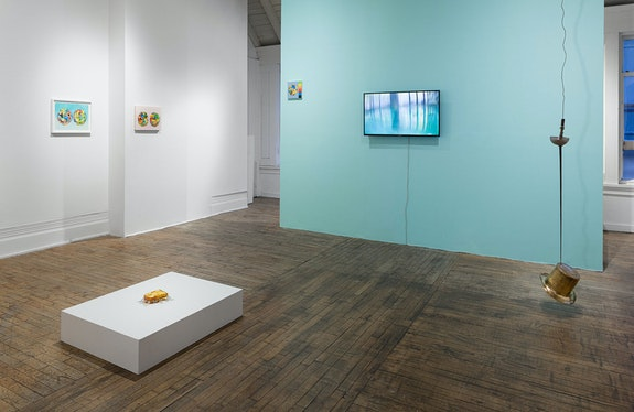 Installation view: <em>fetch fiddle fidget</em>, La Mama Galleria, New York, 2021. Photo: Etienne Frossard.