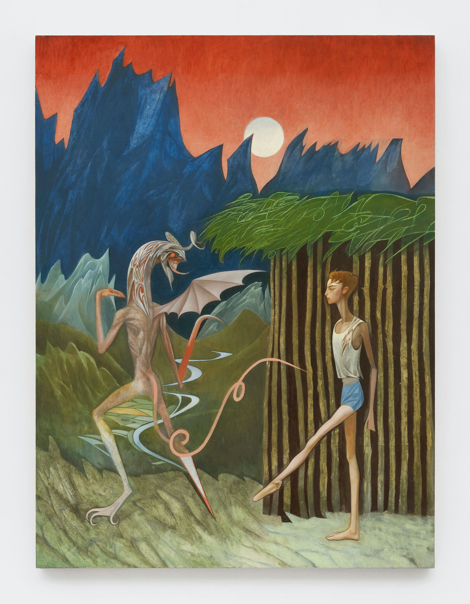 Julien Nguyen, <em>The Temptation of Christ</em>, 2020. Oil on panel, 40 x 30 inches. Courtesy Matthew Marks, New York.