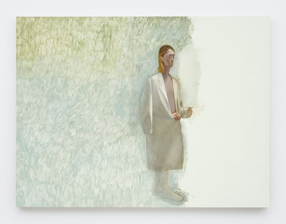 Julien Nguyen, <em>Woman in a Lab Coat</em>, 202. Oil on panel, 35 1/2 x 47 1/4 inches. Courtesy Matthew Marks, New York.