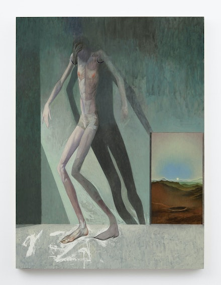 Julien Nguyen, <em>Resolute in Privation</em>, 2021. Oil on panel, 40 x 30 inches. Courtesy Matthew Marks, New York.
