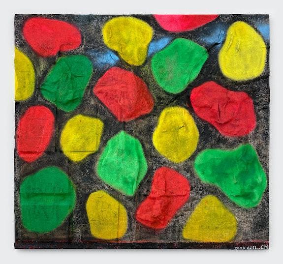 Chris Martin, <em>Flagstone</em>, 2008–11. Polymer medium, collage, burlap, acrylic, spray paint, glitter and oil on gessoed canvas, 59 x 64 inches. Courtesy Parts & Labor, Beacon.