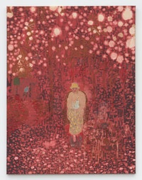 Andrew Cranston, <em>Waiting for the Bell</em>, 2021. Rabbit skin glue and pigment on bleached canvas, 66 7/8 x 51 1/8 inches. Courtesy the artist and Karma, New York.