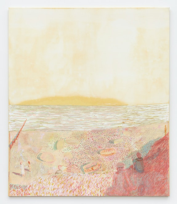 Andrew Cranston, <em>It was your birthday (and a seagull shat on your head)</em>, 2021. Rabbit skin glue and pigment on bleached canvas, 82 5/8 x 70 7/8 inches. Courtesy the artist and Karma, New York.