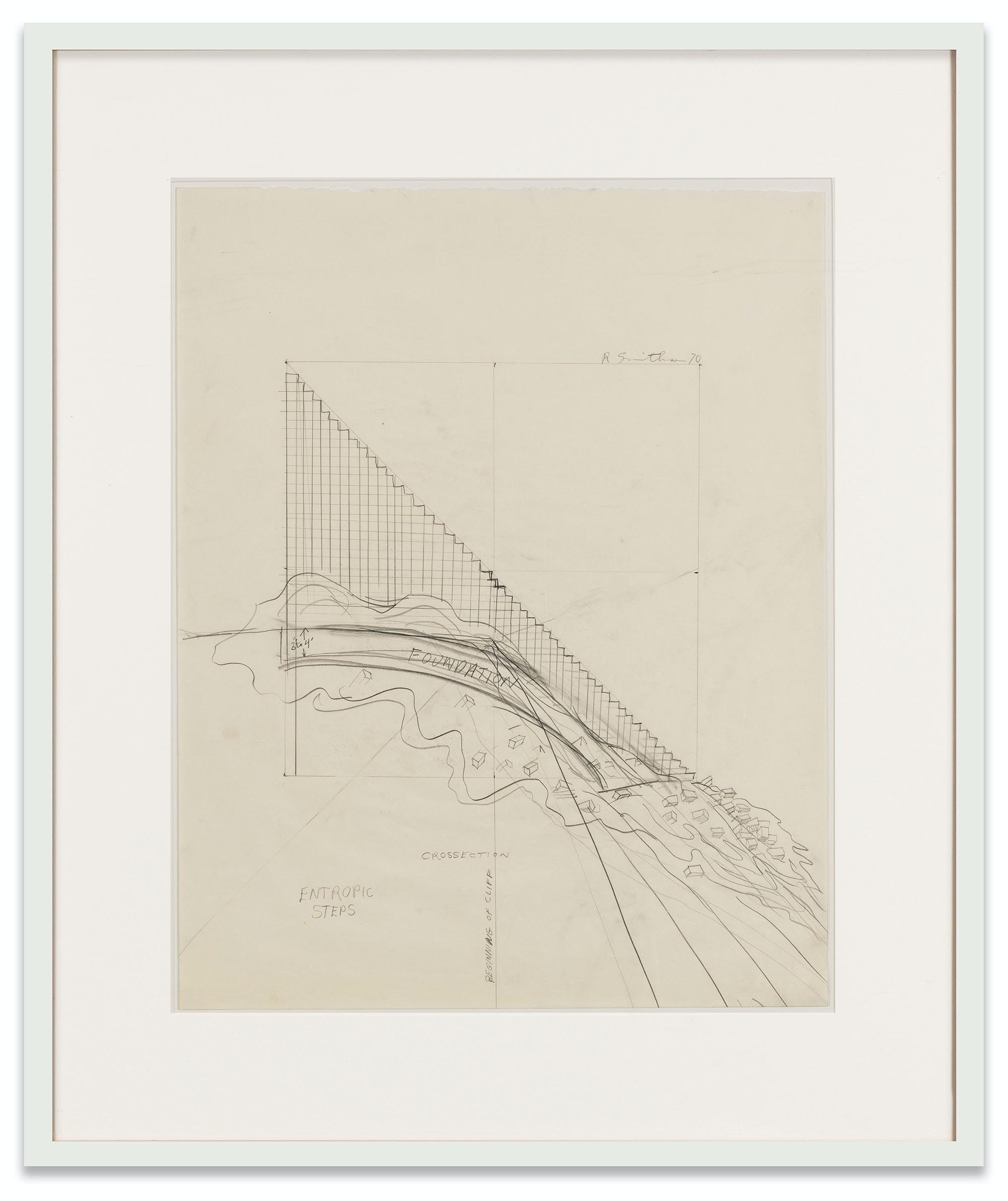 Robert Smithson, <em>Entropic Steps</em>, 1970. Pencil on paper, 19 x 24 inches. Courtesy Holt/Smithson Foundation and Marian Goodman Gallery. © Holt/Smithson Foundation, Licensed by VAGA at ARS, New York. Photo: Alex Yudzon.